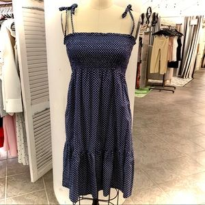 Navy & White Polka Dot J Crew Sundress